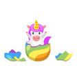 unicorn hatched from egg vector image vector image