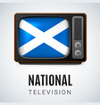 vintage tv and flag of scotland as symbol vector image
