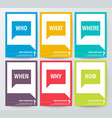 who what where when why how 5w1h or wh questions vector image vector image
