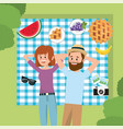 woman and man couple in the tablecloth relaxation vector image vector image