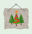 Wooden Sign with Trees vector image vector image