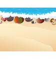 Pebble and seashells on the sand vector image