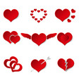 set of red paper style valentine hearth love vector image