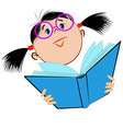 image of a girl in glasses holding an open book vector image