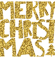 Happy Merry Christmas Golden glittering vector image