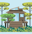 wooden eco house in the forest vector image