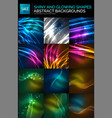 abstract background set neon particles waves on vector image