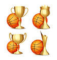 basketball game award set basketball ball vector image vector image