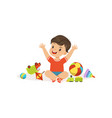 bully boy playing and breaking his toys hoodlum vector image vector image