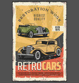 cars retro show old rare vehicles exhibition vector image