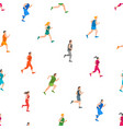 cartoon jogging characters people seamless pattern vector image vector image
