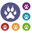 cat paw icons set vector image vector image
