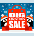 christmas big sale background with funny penguins vector image vector image