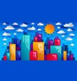 city houses buildings paper cut cartoon kids game vector image