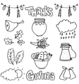 Collection thanksgiving set of doodles vector image vector image