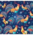 Colorful pattern with roosters vector image