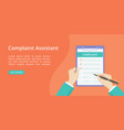 complaint form on clipboard with hand landing page vector image vector image