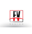fv f v logo letters with red and black colors and vector image vector image