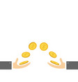 giving and taking hands with flying golden coin vector image vector image