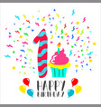 happy birthday card for 1 year baby fun party art vector image vector image