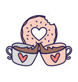 happy valentines day sweet donut and coffee cups vector image vector image