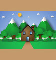 house with nature landscape hill and mountain vector image vector image