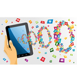 Human hand holds tablet pc with app icons vector image vector image