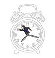 hurry businessman in a big retro alarm clock vector image vector image
