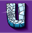 ice font -letter u vector image