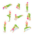 isometric girl doing yoga poses or vector image