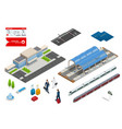 isometric set railroad objects buildings vector image vector image