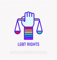 lgbt rights hand with scales rainbow wristband vector image vector image