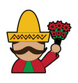 man with sombrero holding flowers mexico culture vector image vector image
