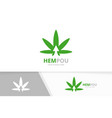 marijuana leaf and arrow up logo vector image