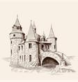 medieval castle and bridge vector image