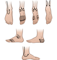 mens feet with massaging lines vector image vector image