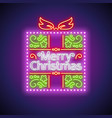 merry christmas gift neon sign vector image vector image