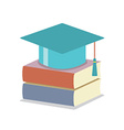 Mortarboard With Books Education Concept vector image vector image
