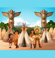 native american indians at camp site vector image