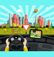 navigation in car with city on background vector image