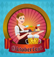 oktoberfest poster with bavarian woman vector image