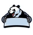 panda in sport mascot hold the blank banner vector image vector image