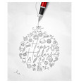 pen line drawing christmas tree toy ball vector image vector image