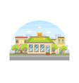pets shop building facade view city street vector image