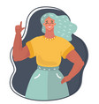 portrait of cute woman speaking and pointing vector image