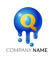 q letter splash logo blue dots and bubbles letter vector image vector image