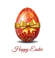 red easter egg tied of gold ribbon vector image