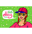 Red head girl with placard board and text Hello vector image