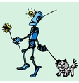 Robot walks his dog vector image