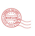 round red postmark warsaw poland express vector image
